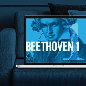 Image of Beethoven in laptop on couch