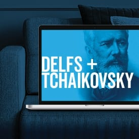 Image of Tchaikovsky in laptop on couch