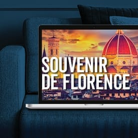 Image of Florence, Italy in laptop on couch