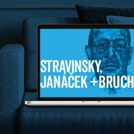 Image of Stravinsky in laptop on couch