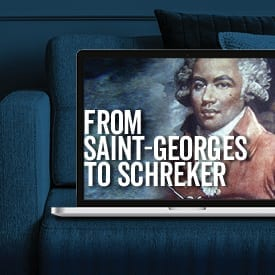 Image of Saint-Georges in laptop on couch