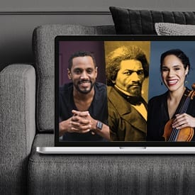 Image of Carlos Simon, Frederick Douglass, and Jessie Montgomery in a laptop on couch